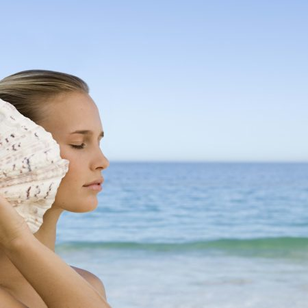 girl, shell, sea