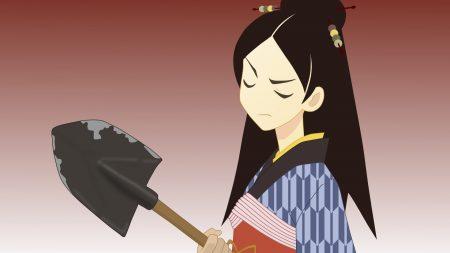 girl, shovel, kimono