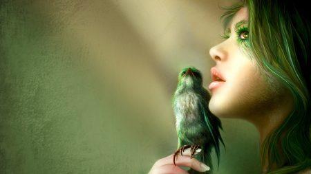 girl, sight, bird