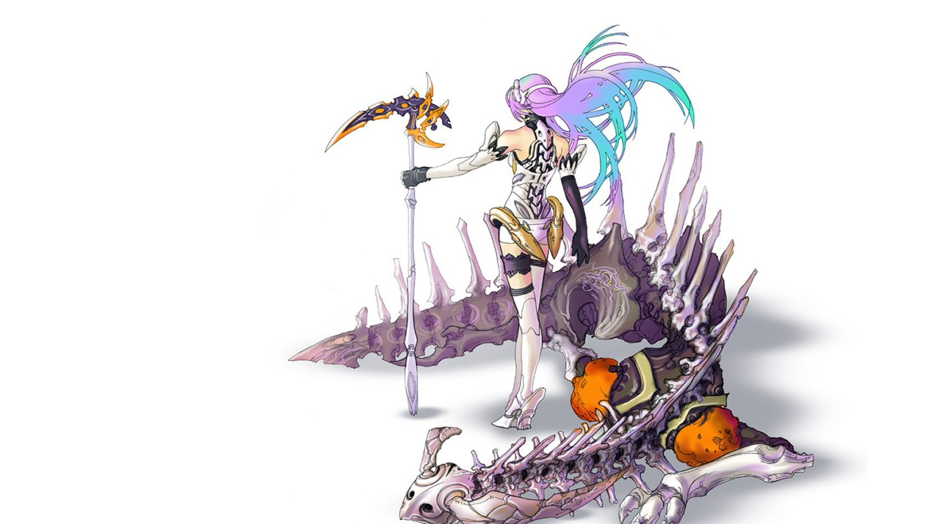 girl, skeleton, dragon