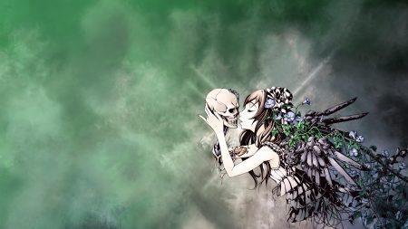 girl, skull, call