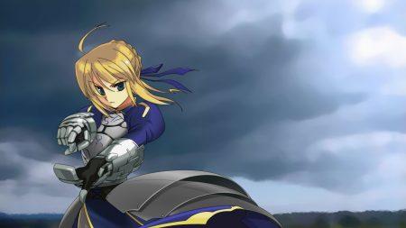 girl, sky, armor
