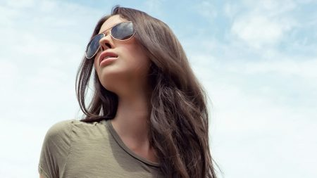 girl, sky, glasses