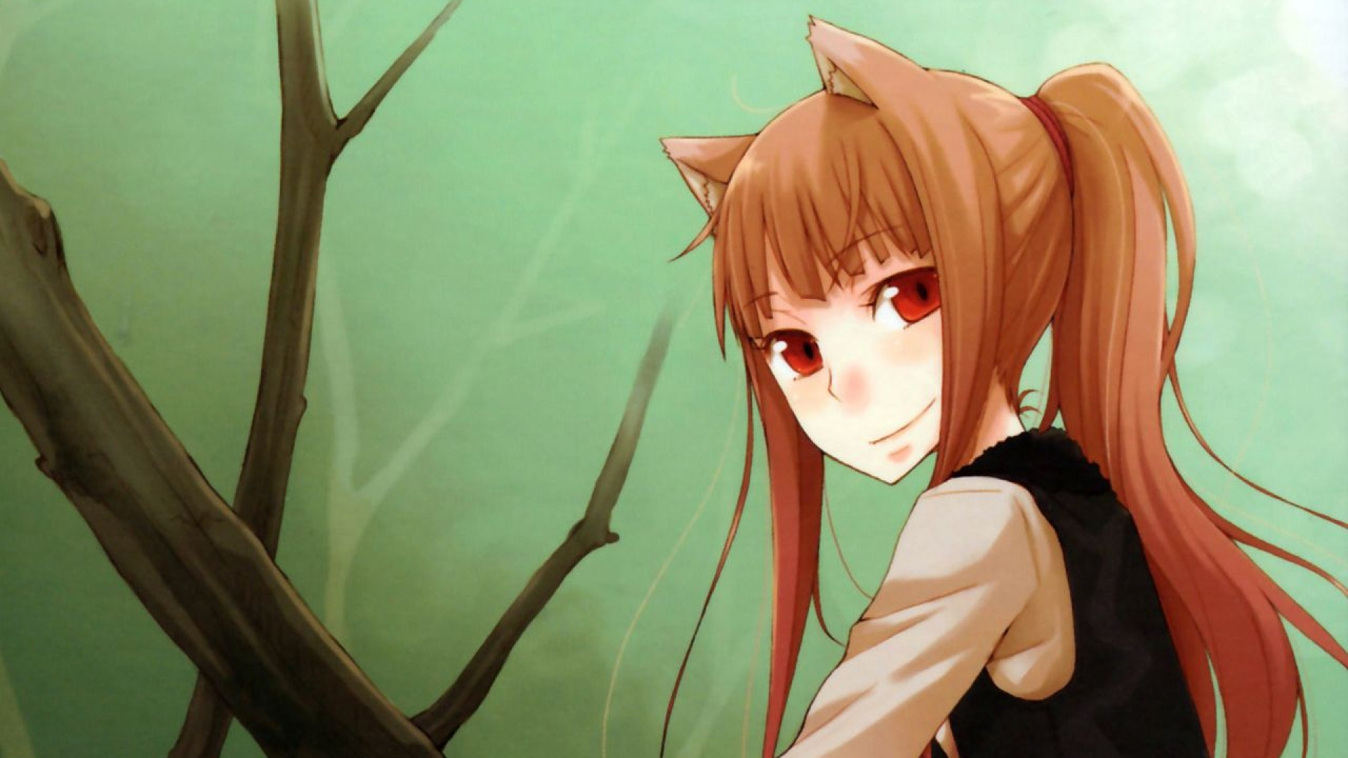 Download Wallpaper 1920x1080 Girl Smile Spice Wolf Trees Pose