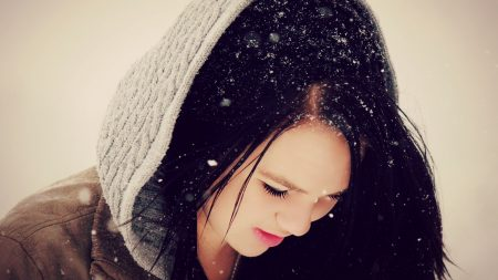 girl, snow, hood