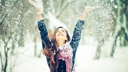 girl, snow, mood