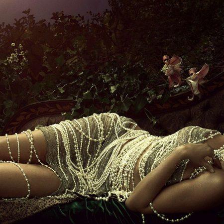 girl, sofa, beads