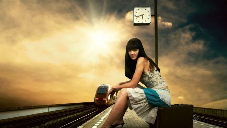 girl, station, train station