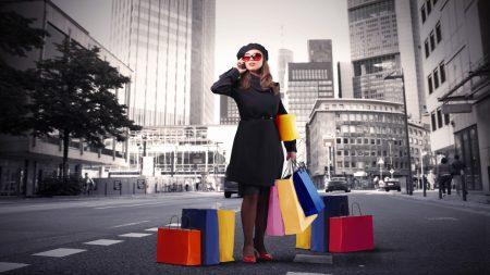 girl, street, shopping