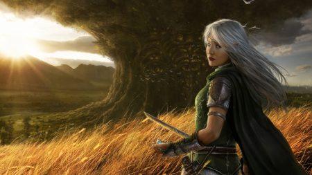 girl, sun, sword