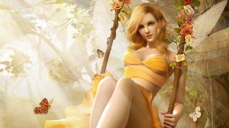 girl, swing, butterfly