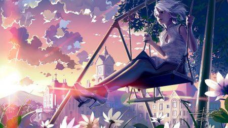 girl, swing, street