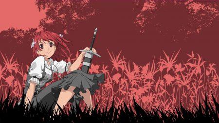 girl, sword, meadow