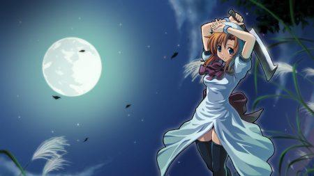 girl, sword, water