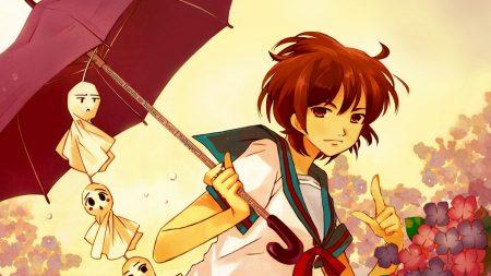 girl, umbrella, gesture