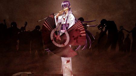 girl, umbrella, kimono