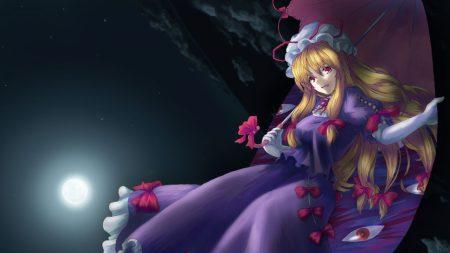 girl, umbrella, moon