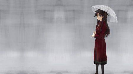 girl, umbrella, walking