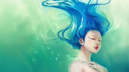 girl, under water, hair