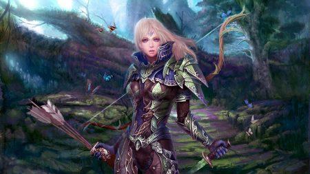 girl, warrior, bow
