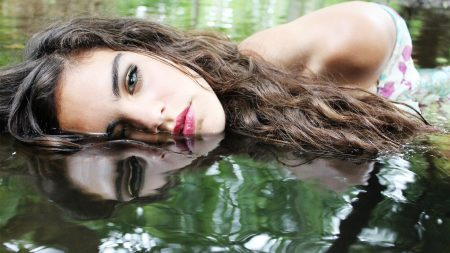 girl, water, make-up