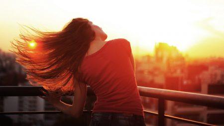 girl, wind, face