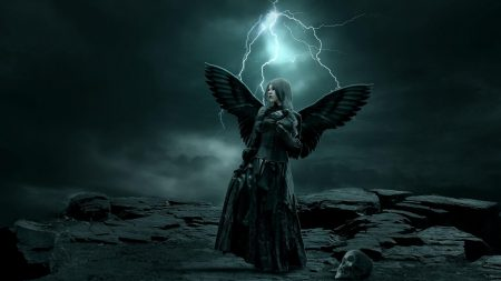 girl, wings, dark