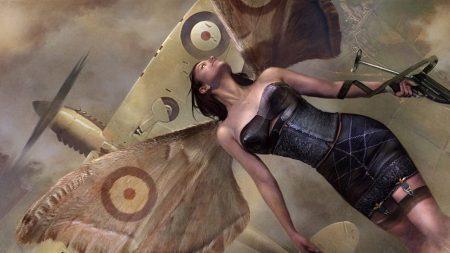 girl, wings, plane