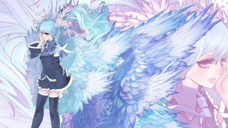 girl, wings, stockings