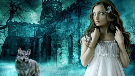 girl, wolf, castle