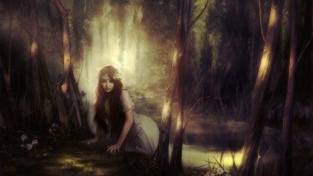girl, wood, light