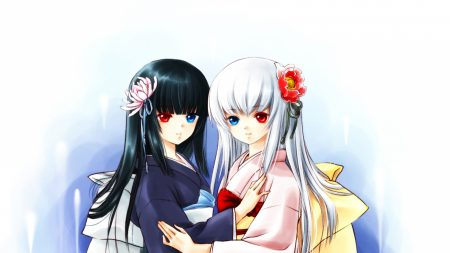 girls, kimonos, different eyes
