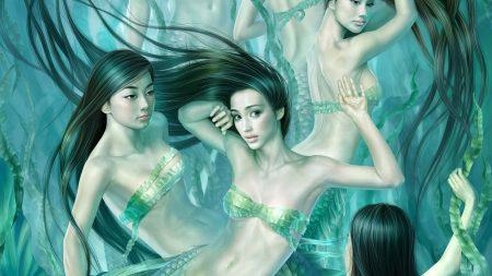girls, mermaids, under water