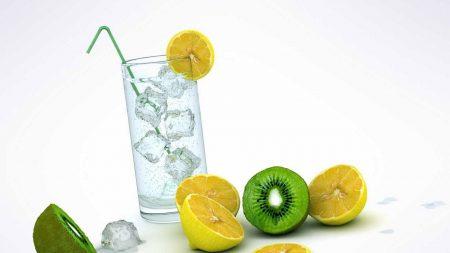 glass, ice, lemon