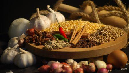 grain, garlic, spices