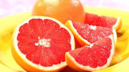 grapefruit, segments, orange