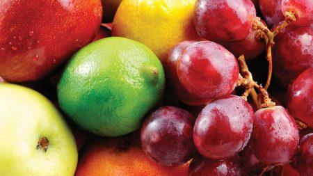 grapes, apple, lemon