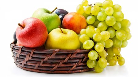 grapes, apples, basket