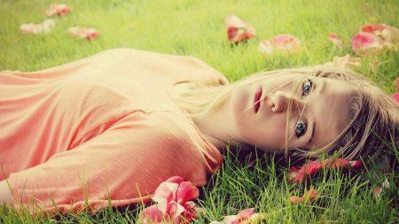 grass, flowers, girl