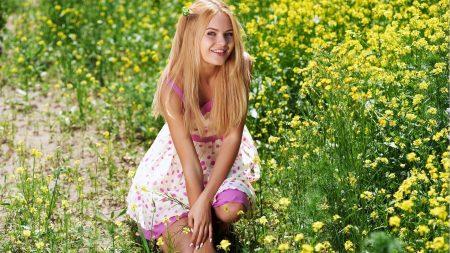 grass, girl, smile