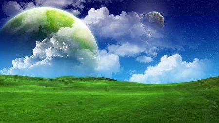 grass, green, sky blue