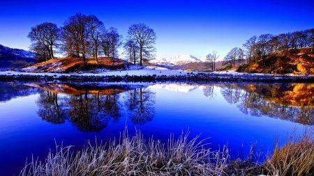 grass, lake, snow
