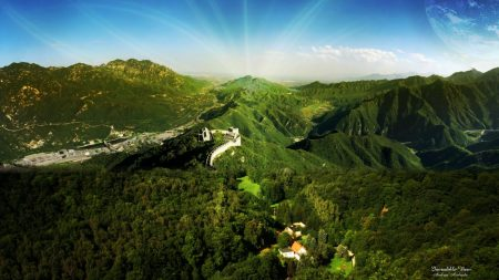 great wall, mountains, trees