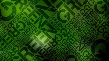 green, black, lettering