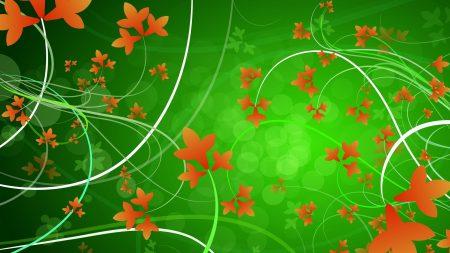 green, orange, flowers
