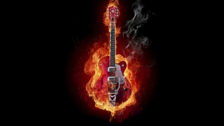 guitar, fire, instrument
