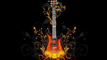 guitar, fire, light