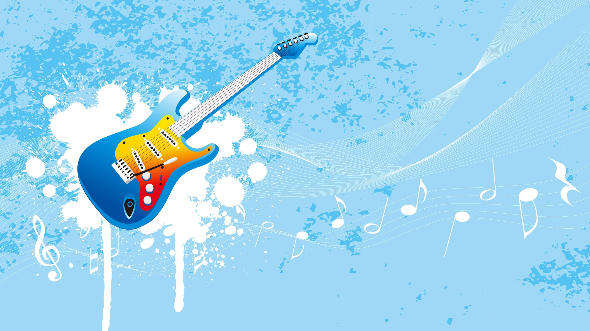 Download Wallpaper 1920x1080 Guitar Music Flying Sky Patterns Full Hd 1080p Hd Background