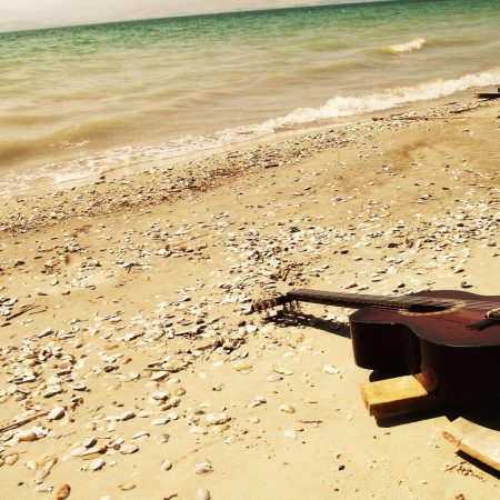 guitar, sea, beach