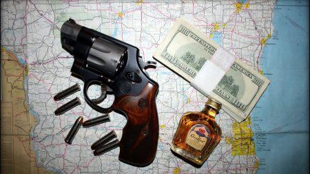 gun, cognac, bullets